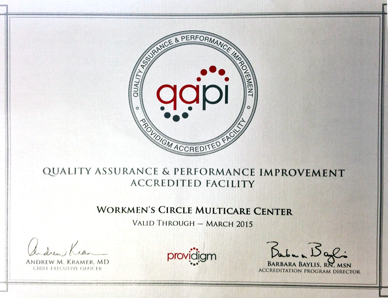 Quality Assurance & Perfomance Improvement Accredited Facility