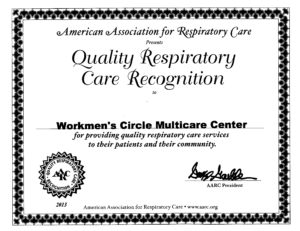 American Association for Respiratory Care's Quality Respiratory Care Recognition in 2013